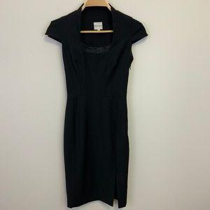 REISS Black Tailored Dress Square Neck Cap Sleeve